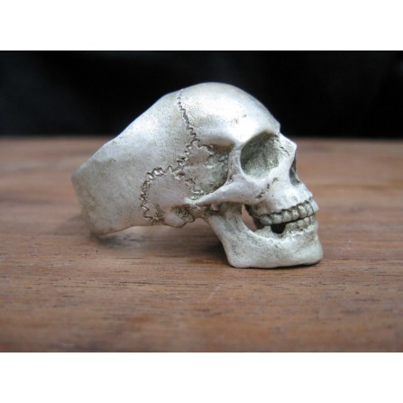 Sterling Silver Skull Ring with Jaw